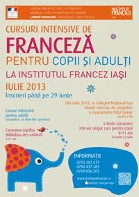 Cursuri intensive de limba franceză pentru copii, adolescenți și adulți/ afis iasi