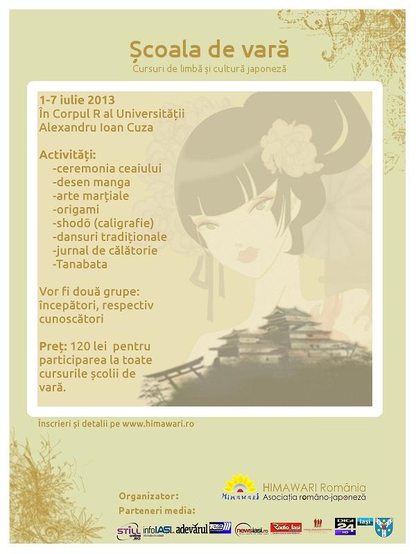 Scoala de Vara Himawari 2013: cursuri de cultură şi limbă japoneză la Iași/ afis
