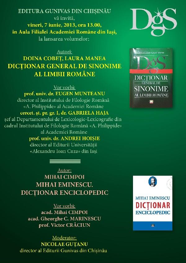 Lansarea la Iași a două volume de la Editura Gunivas din Chișinău/ afis iasi