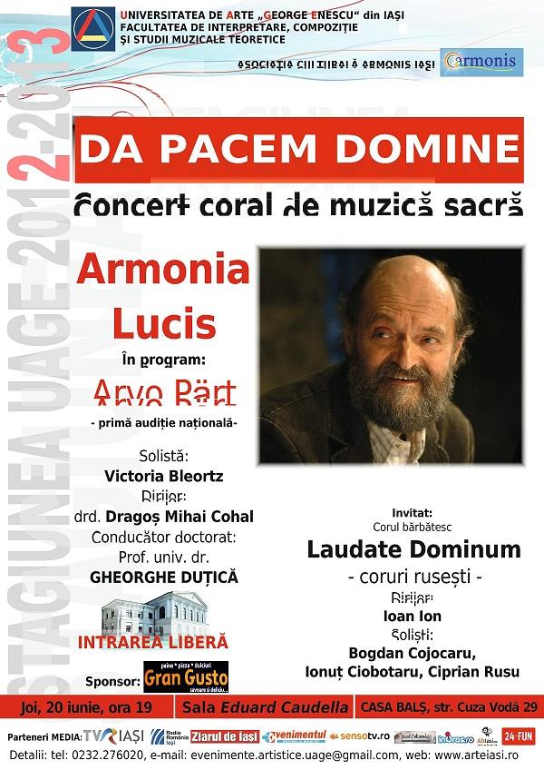 Concertul coral, susţinut de Armonia Lucis/ afis iasi