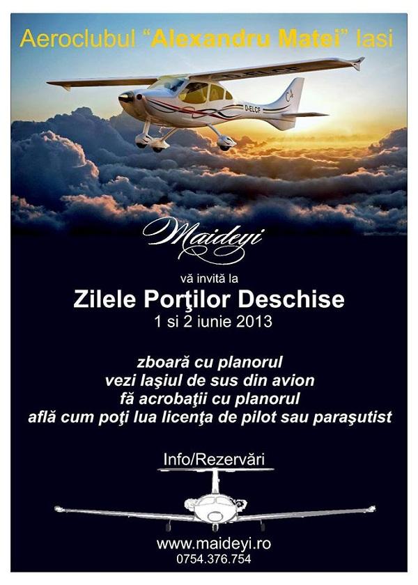 """Zilele Portilor Deschise la Aeroclubul """"Alexandru Matei"""" Iasi/ afis"""