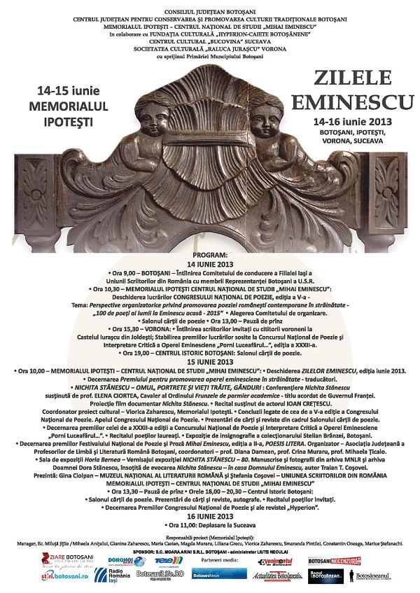 Manifestații de Zilele Eminescu/ 14 - 15 iunie 2013/ afis iasi