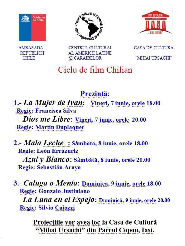 """Ciclu de film Chilian la Casa de Cultură """"Mihai Ursachi""""/ afis"""