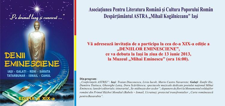"""Denii Eminesciene"", ediția a XIX-a/ afis"