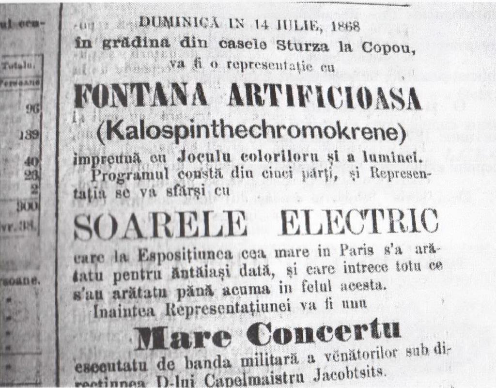 """""""soarele electric"""" s-a aprins pentru prima dată în România, la Iaşi, la 11-14 iulie 1868/ afis"""