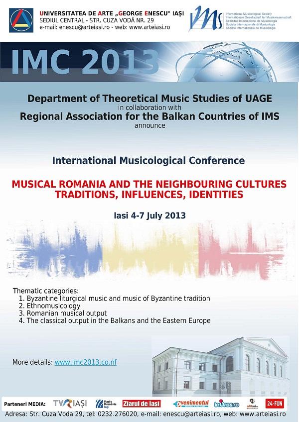 """Conferința Internațională de Muzicologie cu tema """"România muzicală și culturile invecinate: tradiții, influențe, identități/ 4-7 iulie/ afis"""