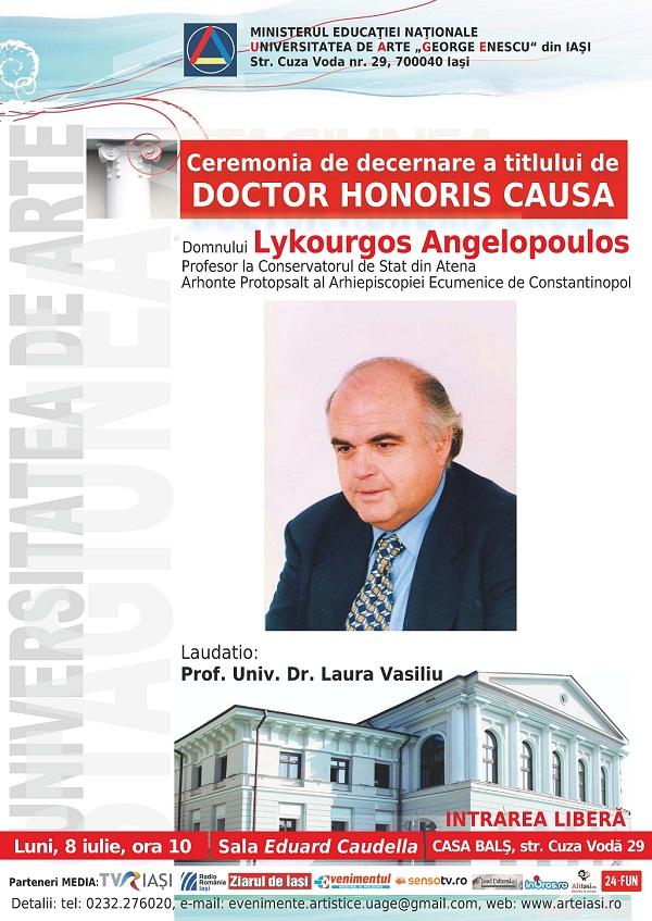 Ceremonia de decernare a titlului de Doctor Honoris Causa profesorului Lykourgos Angelopoulos/ afis iasi