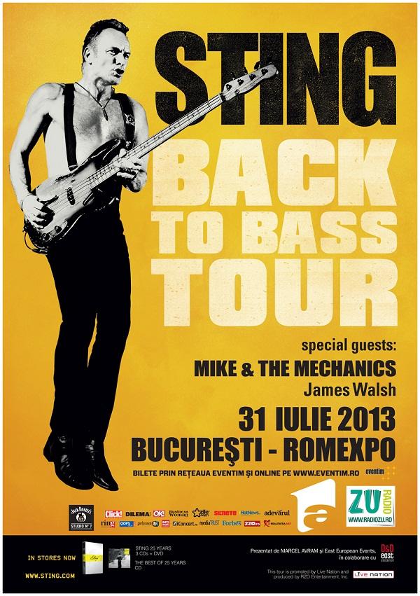Sting revine la Bucuresti cu turneul Back To Bass/ 31 iulie 2013/ afis