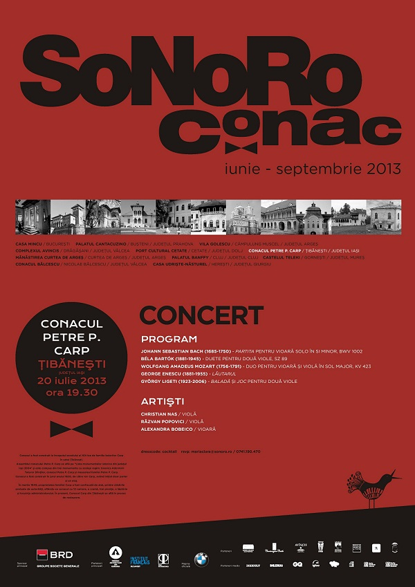 Concert de muzică de cameră marca SoNoRo Conac la Conacul Petre P. Carp din Țibănești (jud. Iași)/ afis