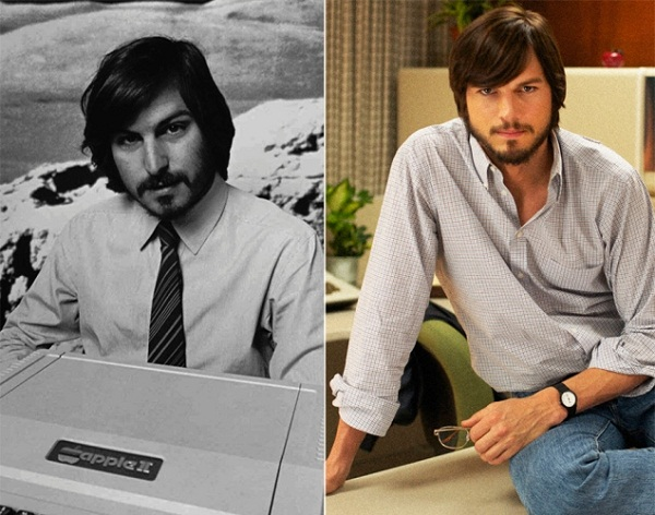 """Steve Jobs. Omul care a schimbat lumea""/ steve jobs  - stanga . ashton kutcher - dreapta"