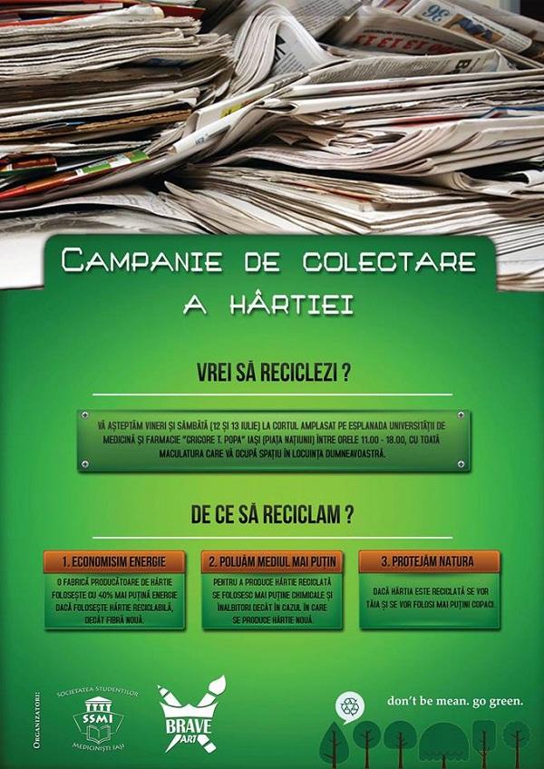 Campanie de colectare a hârtiei organizată de Societatea Studenților Mediciniști Iași/ afis iasi