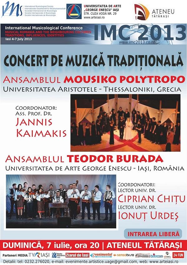 Concert de muzică tradițională cu Ansamblul MOUSIKO POLYTROPO (Grecia) și Ansamblul TEODOR BURADA/ afis iasi