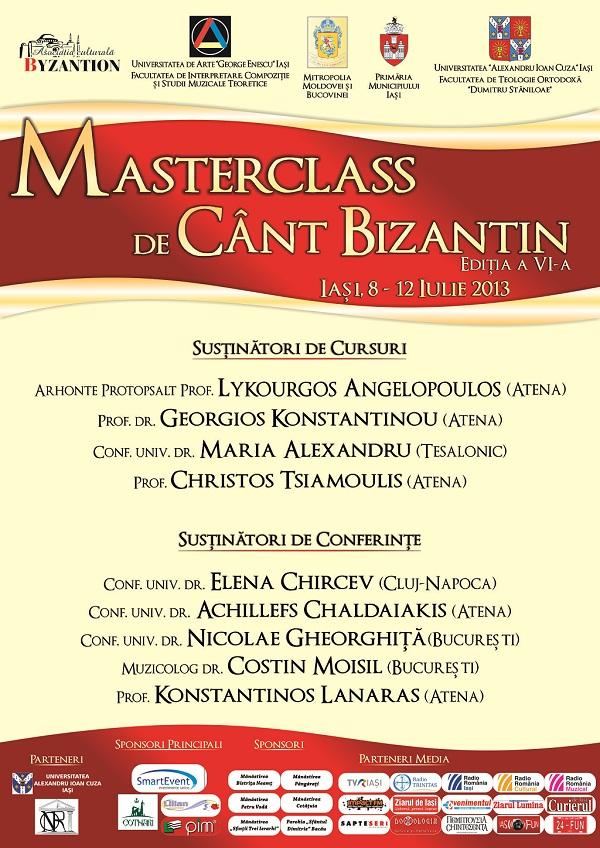 Masterclass de cânt bizantin/ 8 - 12 iulie/ afis iasi