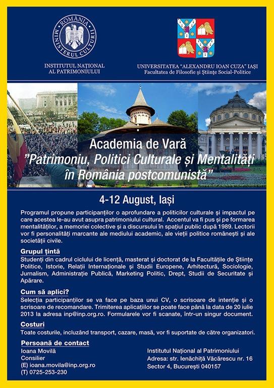 Prima Academie de Vară dedicată Patrimoniului din România, organizată în premieră la Iași/ afis iasi