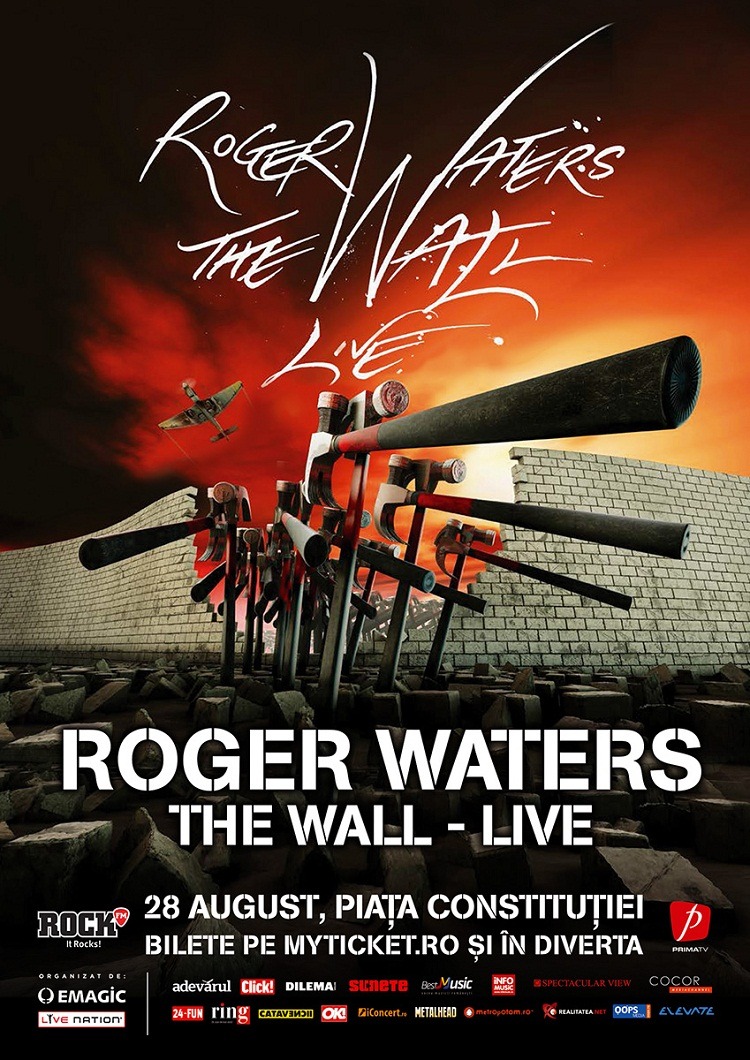"Roger Waters aduce ""The Wall"" in Romania / Piata Constitutiei/ afis"