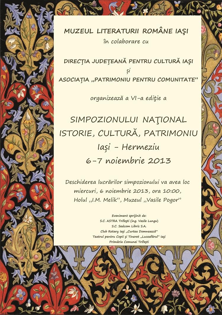 afis-simpozionul-national-istorie-cultura-patrimoniu-iasi-muzeul-literaturii-roman-2013