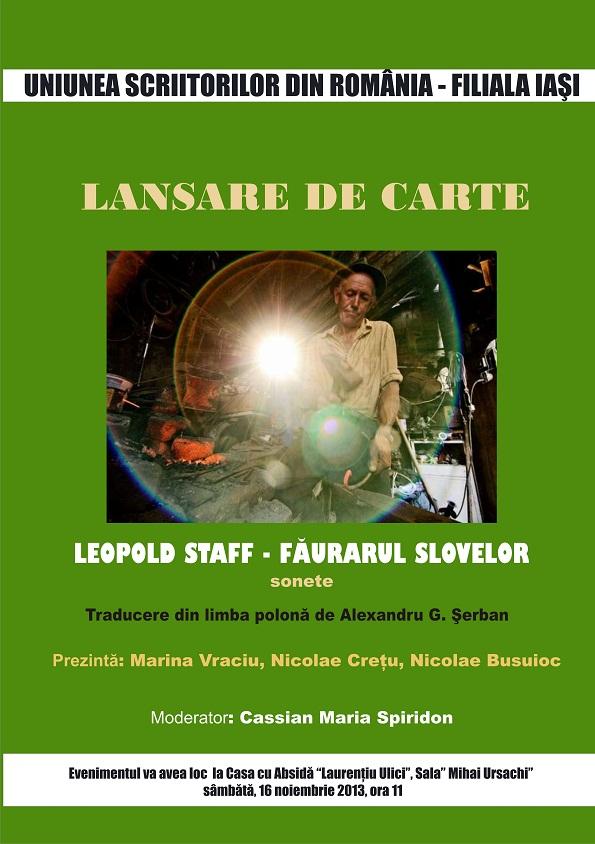 lansare-de-carte-leopold-staff-faurarul-slovelor-sonete-iasi-afis