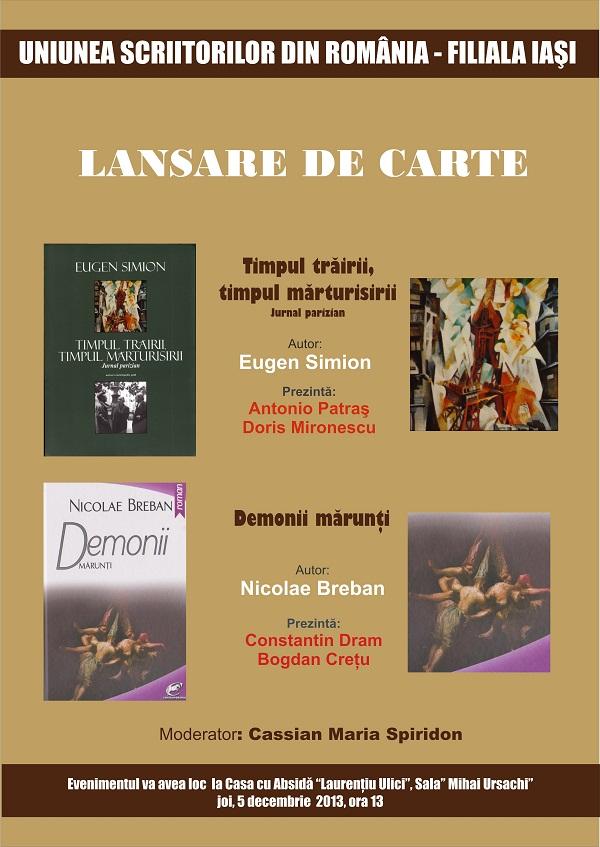 lansare-de-carte-uniunea-scriitorilor-din-romania-filiala-iasi-eugen-simion-nicolae-breban-afis