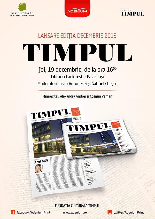 revista-culturala-timpul-decembrie-2013-afis-lansare