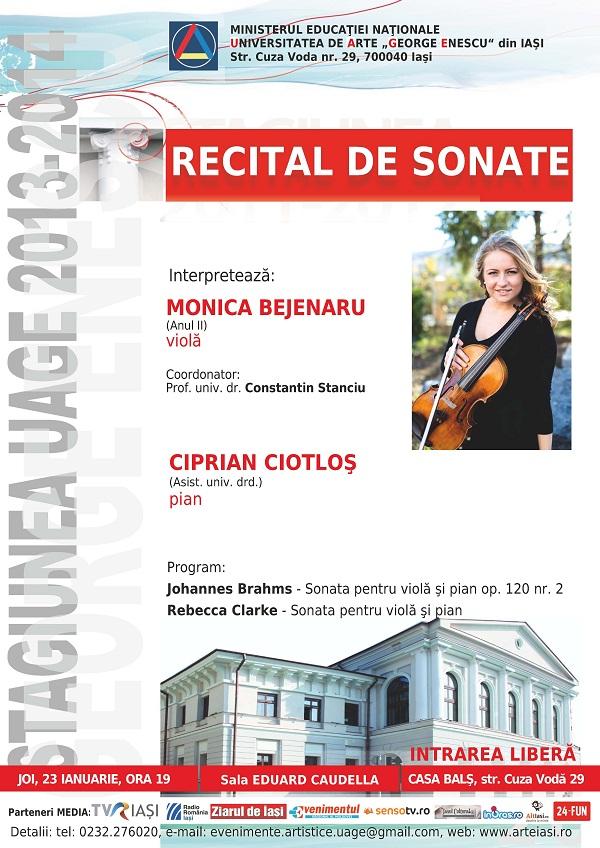 Recital de sonate cu Monica Bejenaru viola si Ciprian Ciotlos pian