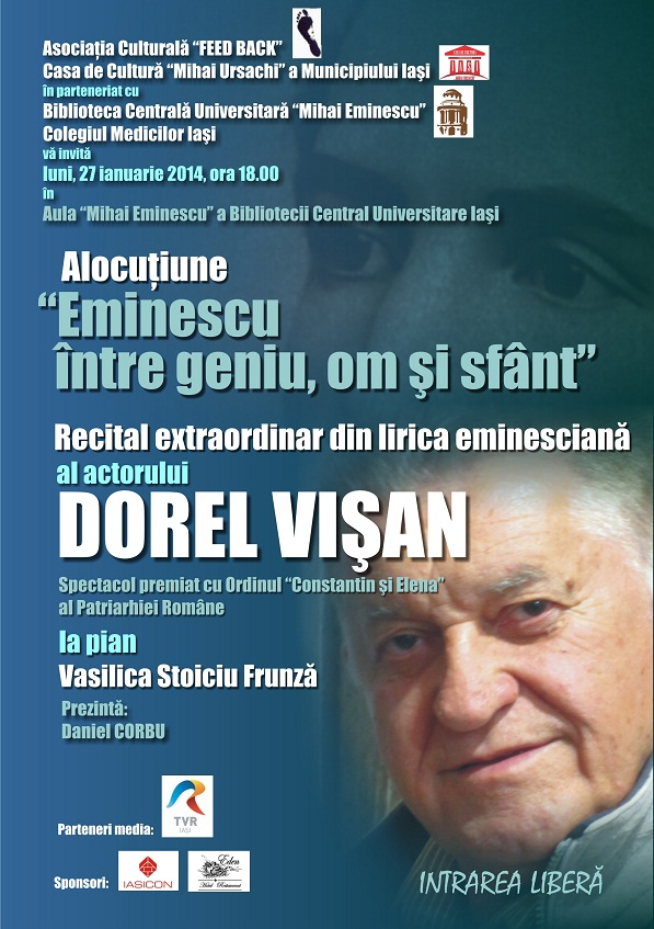 Recital extraordinar din lirica eminesciana cu actorul Dorel Visan