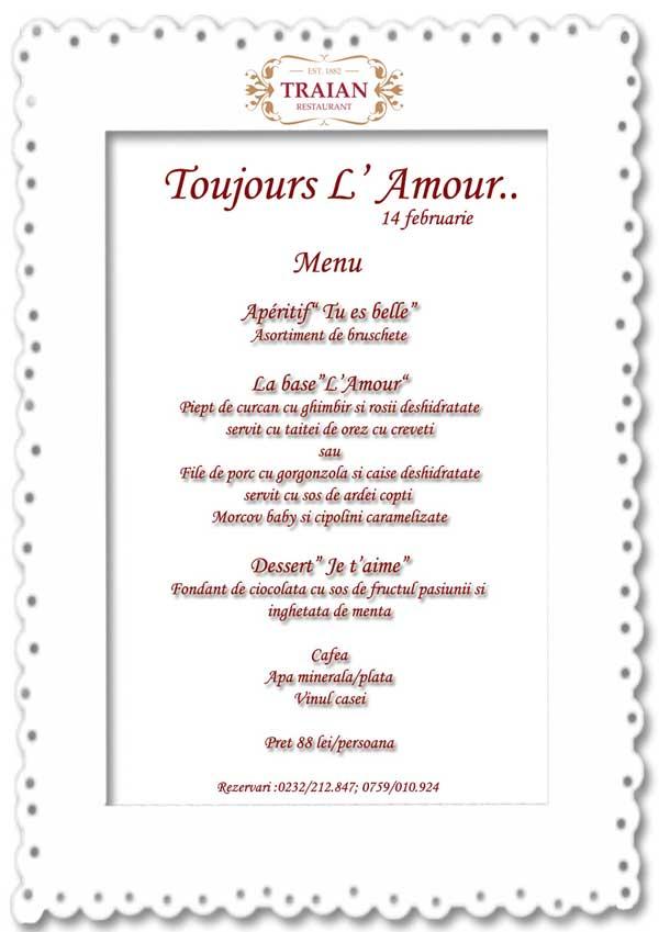 Meniu - 14 februarie - Restaurant Traian