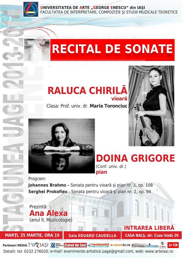 2014.03.25.Recital sonate Raluca Chirila afis iasi