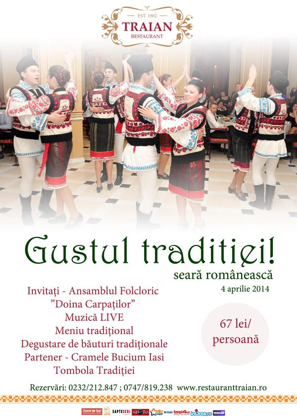 Afis Seara Romaneasca Restaurant Traian 4 aprilie 2014 iasi