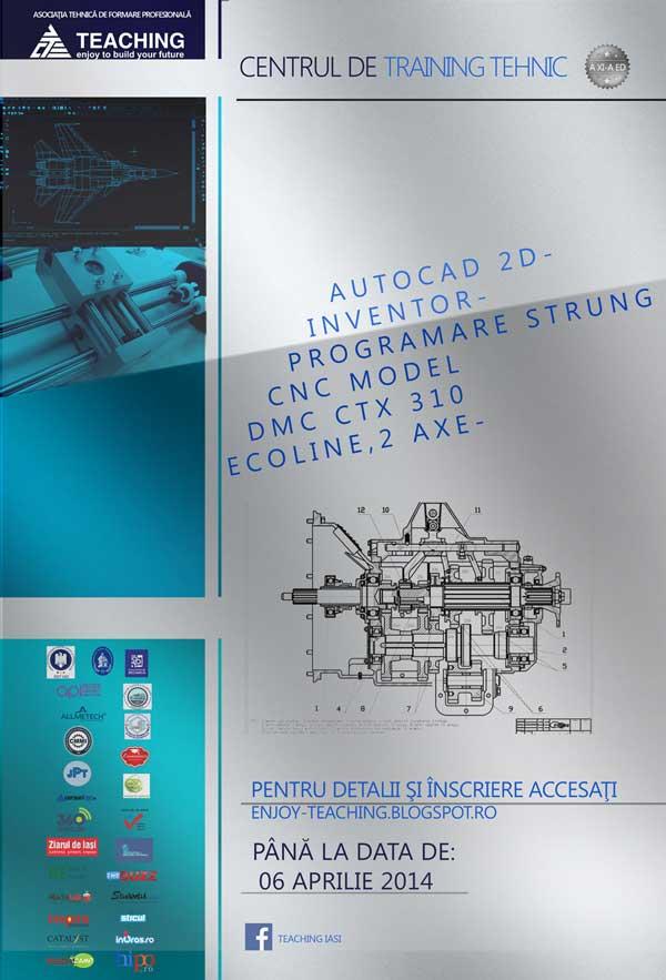 Cursuri de AutoCAD, Inventor si programare CNC, pentru studenti