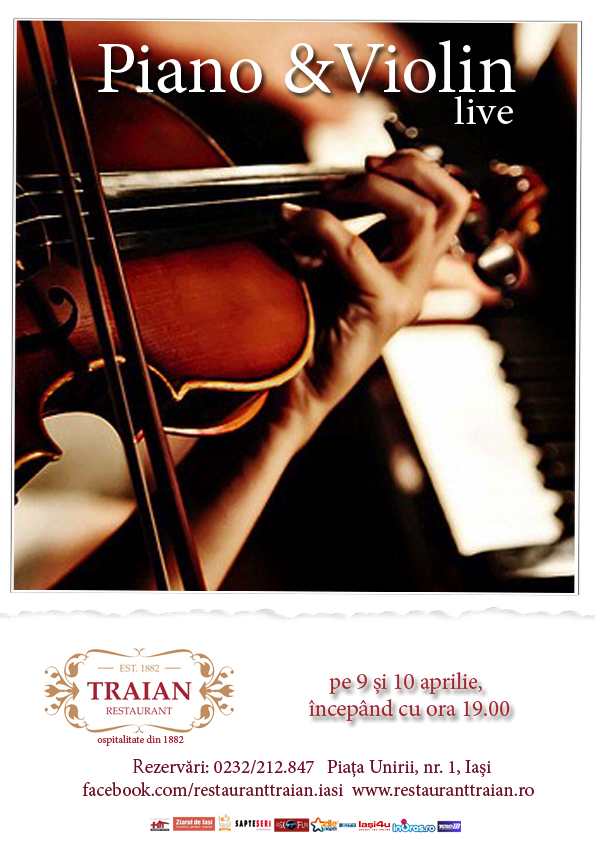 Piano & Violin live, Restaurant Traian Iasi -afis-2014