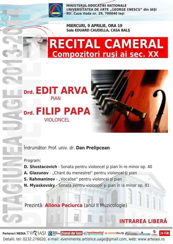 Recital violoncel Filip Papa - uaga afis iasi - 9 aprilie 2014