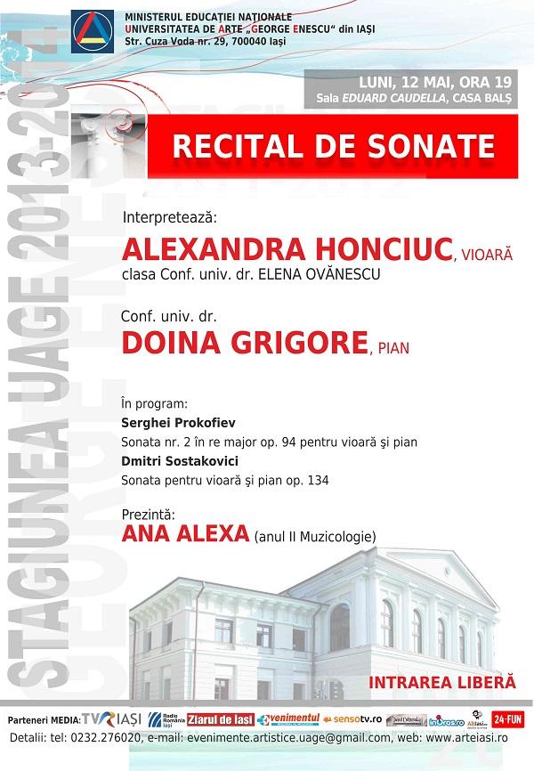 2014.05.12. Recital sonate Honciuc - Grigore - afis iasi