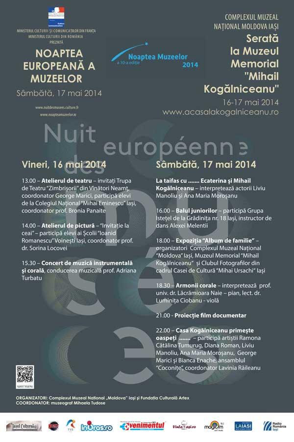 Noaptea Muzeelor 2014 si Serata la Muzeul Mihail Kogalniceanu
