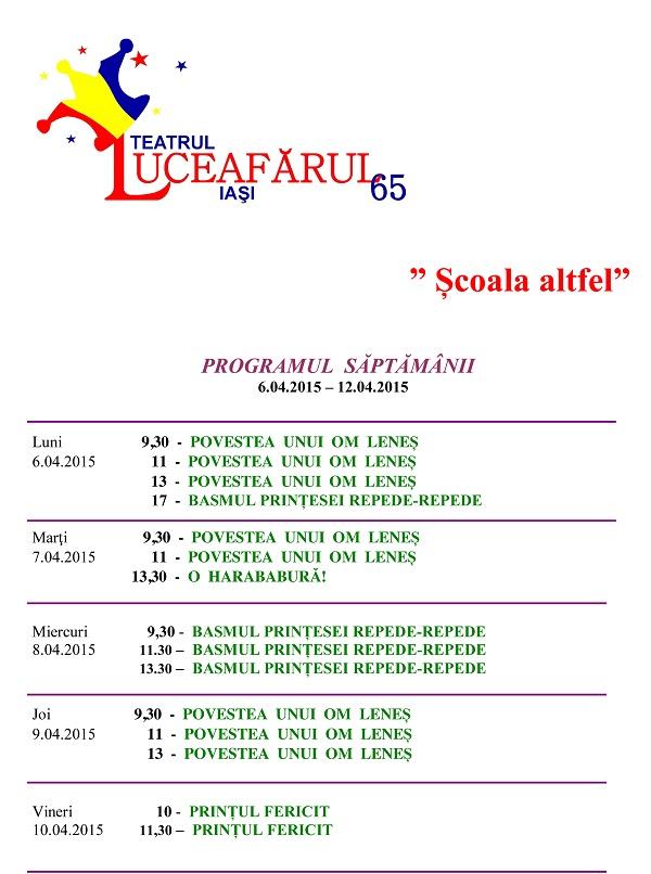 Program Scoala Altfel Teatrul Luceafarul