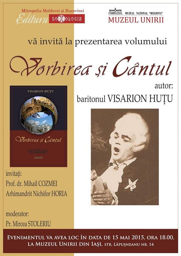 """Renumit solist al Operei din Iasi lanseaza cartea """"Vorbirea si Cantul"""" la Muzeul Unirii"""