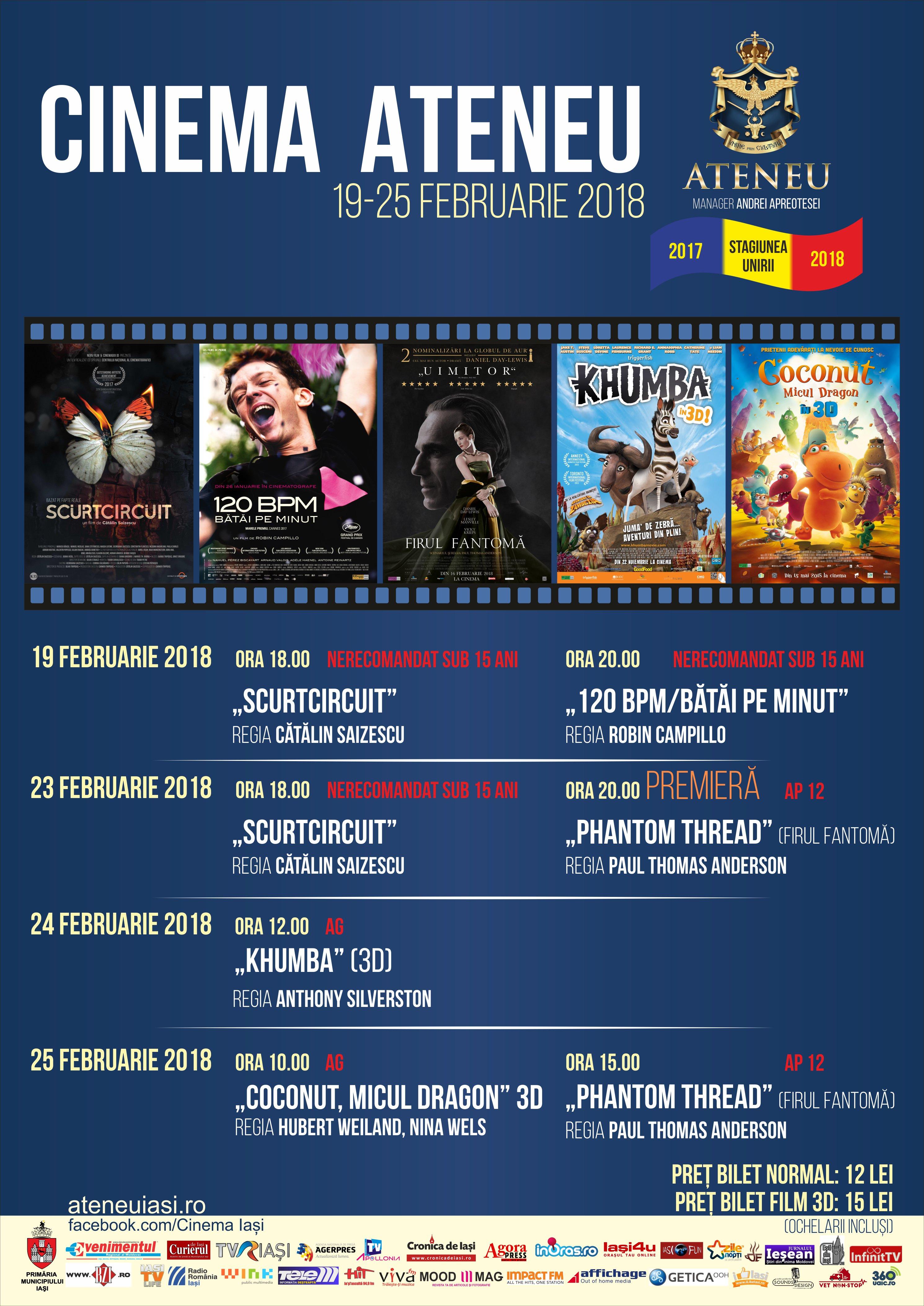 Program Cinema Ateneu: 19-25 februarie 2018